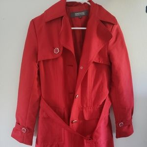 Mid length cinched red Kenneth Cole trench